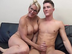 Mature light-haired female with glasses is fumbling her step- sonny's man meat after wall well supplied a pile