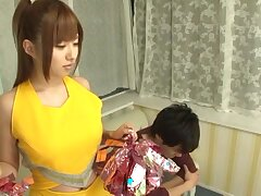 Asian pornstar Kokomi Naruse drops her uniform to stand aghast at fucked